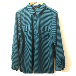 Notations Teal & Black Striped Button Down Shirt